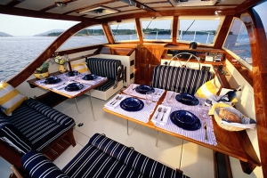 Again, a promotional picture from another boat, but this is the same set-up, stern seats brought fwd.